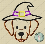 Witch Hat Labrador Dog Head Applique Design ~ Halloween Applique Design